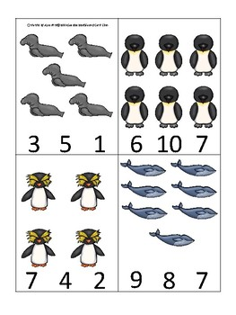 Antarctic Animals themed Count and Clip Game.  Printable Preschool Game