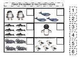 Antarctic Animals themed Match the Number Game. Printable Preschool Ga