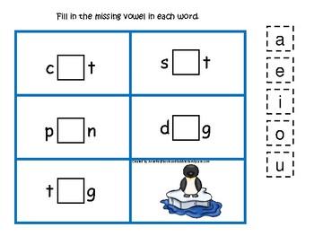 Antarctic Animals themed Penguin CVC Game.  Printable Preschool Game
