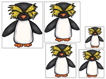 Antarctic Animals themed Size Sequence. Printable Preschool Game