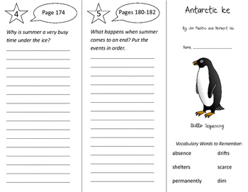 Antarctic Ice Trifold - Storytown 3rd Grade Unit 5 Week 1