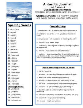 Antarctic Journal  Reading Street 4th grade  Unit 5 centers group work aid