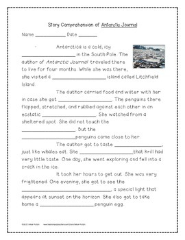 Antarctic Journal Supplemental Activities 4th Grade Journeys Unit 3, Lesson 13