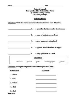 Journeys Common Core 4th - Antarctic Journal Supplemental Packet for the SLP