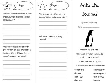 Antarctic Journal Trifold - Reading Street 4th Grade Unit 5 Week 4