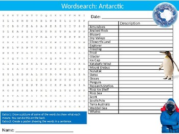 Antarctic Wordsearch Puzzle Sheet Keywords Geography Continent