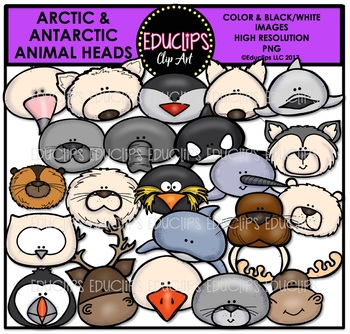 Antarctic and Arctic Animal Heads {Educlips Clipart}