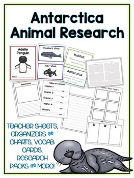 Antarctica Animals Research Project 13 Types, Vocab Cards, Packet, Book  + More!