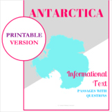 Antarctica Informational Text Passages with Questions and Answer Key (Printable)