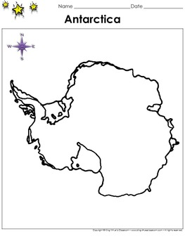 Antarctica Map - Blank - Full Page - Continent - Portrait - King Virtue