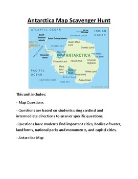 Antarctica Map Scavenger Hunt