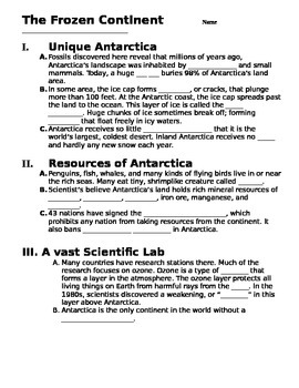 Antarctica Note Taking guide