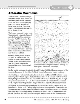 Antarctica: Physical Features: Mountains