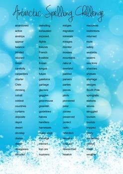 Antarctica Spelling Challenge