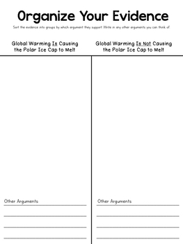 Antarctica Unit Study: Evidence-Based Opinion Writing: Melting Polar Ice Cap