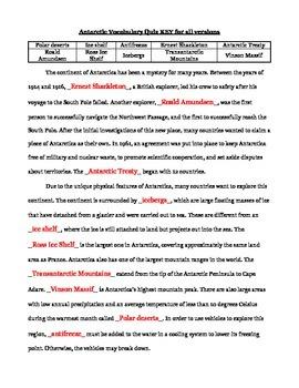 Antarctica Vocabulary Quiz