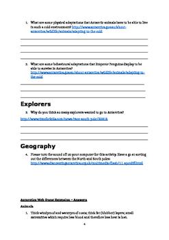 Antarctica Web Quest