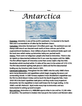 Antarctica - lesson review article questions true false facts information vocab