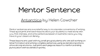 Antarctica mentor sentence using exclamation points POP lesson