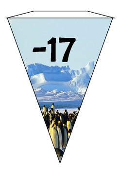 Antarctica themed bunting - negative to positive numbers.
