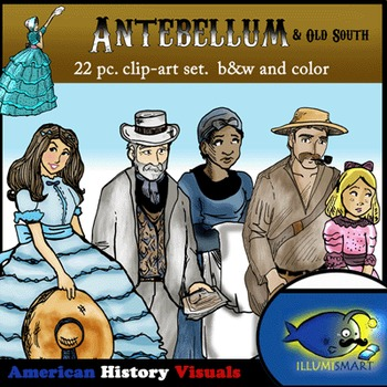 Antebellum & Old South Clip Art: 22 pc. B&W and Color!