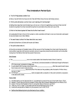 Antebellum Period (U.S. History) Quiz