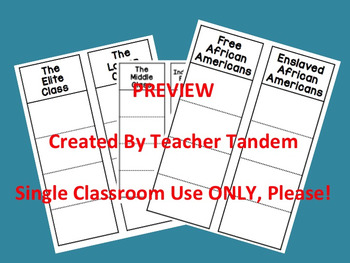 Antebellum Social Classes Foldable