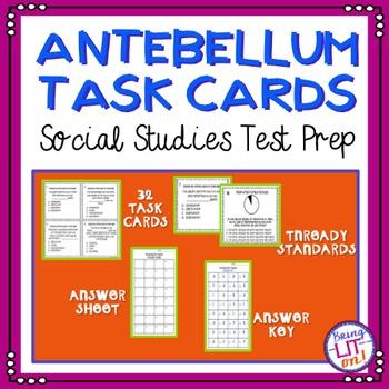 Antebellum Years Task Cards