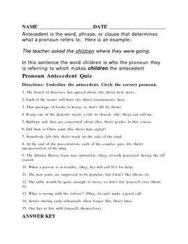10  subject verb pronoun antecedent agreement quiz | Purchase ...
