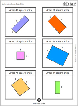 Antelope Area Practice: Find the Missing Side Length - Matching Game (CCSS)