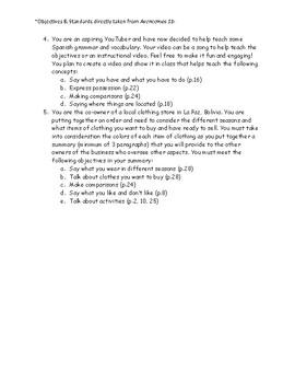 Antes de Avanzar Project Based Assessment for Avencemos 1b