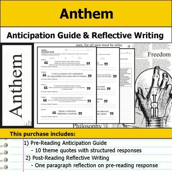 Anthem - Anticipation Guide & Reflection Writing