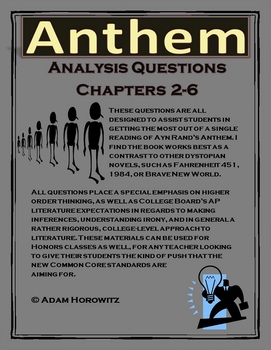 Anthem Chapter 2-6 Analysis Questions (p. 38-68)