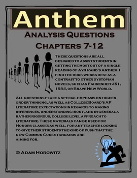 Anthem Chapter 7-12 Analysis Questions (p. 73-end)