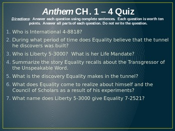 Anthem Chapter Check Quizzes PPT