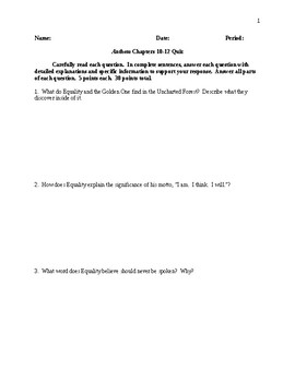 Anthem - Chapters 10-12 Quiz - CCSS Aligned