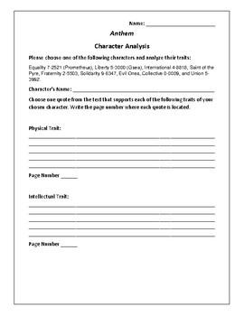 Anthem Character Analysis Activity - Ayn Rand