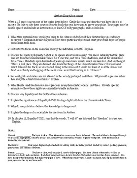 Anthem Essay Prompt Andor Summative Test By Debbies Den  Tpt Anthem Essay Prompt Andor Summative Test College Essay Paper Format also Top Content Writing Companies  Example Thesis Statements For Essays