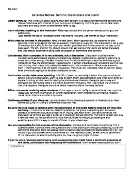 Anthem: Harkness Seminar - Rubric