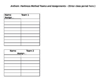 Anthem: Harkness Seminar - Team Assignment Template