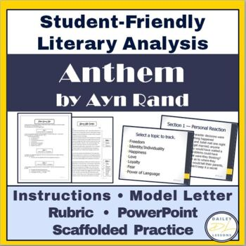Anthem Literary Letter Essay~ Student-Friendly Approach to Literary Analysis