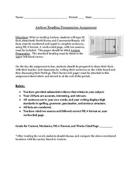 Anthem Reading Preparation Homework Mini-Research Project