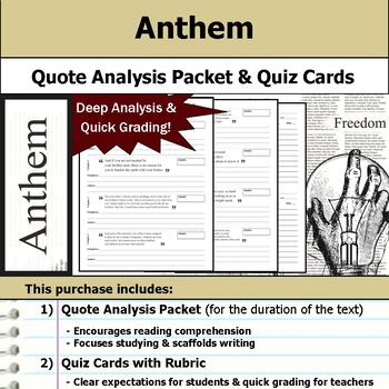 Anthem - Quote Analysis & Reading Quizzes
