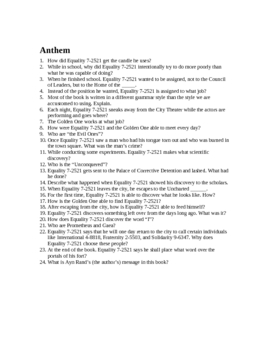 Anthem--Short Answer Test