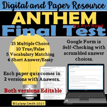 Anthem Test Ayn Rand By Selena Smith Teachers Pay Teachers