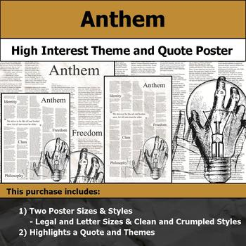 Anthem Visual Theme And Quote Poster For Bulletin Boards