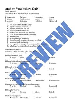 Anthem Vocabulary Bundle - Words/Quiz/Crossword Puzzle