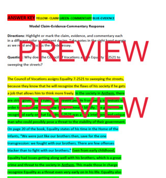 Anthem by Ayn Rand Argumentative Writing Unit- Short Answer Response- TEST PREP