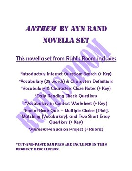 Anthem by Ayn Rand Novella Set