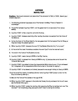 Anthem by Ayn Rand Novel Exam